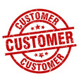 customer round red grunge stamp vector image vector image