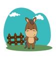 cute animal in farm landscape vector image vector image