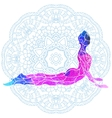 decorative colorful yoga pose over ornate round vector image vector image