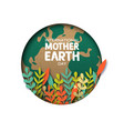 earth day card of paper cut leaves and world map vector image vector image