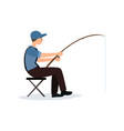 fisherman sitting on folding chair with fishing vector image vector image