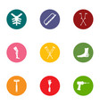 fix orgasm icons set flat style vector image vector image