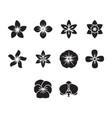 flat black flower icon set vector image vector image