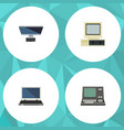 flat icon computer set of computer technology vector image vector image