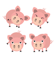 Four cute cartoon pigs vector image