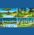 four scenes of forest and river vector image vector image