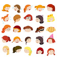 Girl head with different expressions vector image vector image