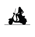 girl on moto silhouette vector image vector image