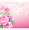 Glowing background with roses and bubbles vector image vector image