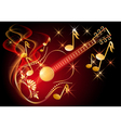 Guitar and musical notes vector image