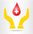 Hands and drop blood vector image