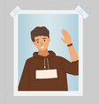 handsome boy is waving hand photo male vector image vector image