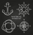 handwheel anchor compass and lifebuoy vector image vector image