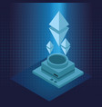 hologram with 3d geometric symbols vector image
