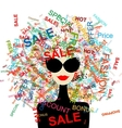 I love sale fashion woman with shopping concept vector | Price: 1 Credit (USD $1)