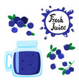 juice with blueberry in a glass bank vector image