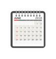 june 2018 calendar calendar notebook page vector image vector image