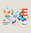 letter e business banner online learning vector image vector image