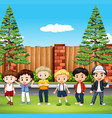 many kids standing in the park vector image vector image