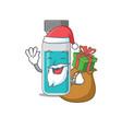 medical test bottle santa having christmas gift vector image vector image
