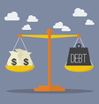 Money and Debt balance on the scale vector image vector image