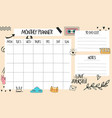 monthly planner template with individual days vector image vector image