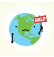sad planet earth vector image vector image