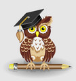 scientist clever owl with pencil and in cap vector image vector image
