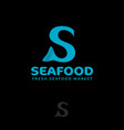 seafood logo letter with fish tail s monogram vector image vector image