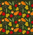 seamless pattern with doodle leaves autumn vector image