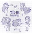Set of cute girls women traveler vector image vector image