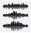 set of different black horizontal cityscape with vector image vector image