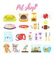 set of pet shop icons vector image