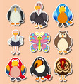 sticker design with different kinds of birds vector image