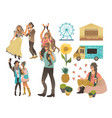 summer music or food festival icones flat vector image