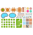 top view park items public furniture outdoor vector image vector image