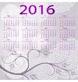 violet floral calendar 2016 vector image vector image