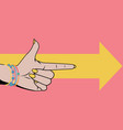 woman hand with pointing finger vector image vector image