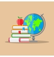 Education concept Globe stack of books apple vector image