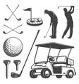 Set of vintage golf elements vector image
