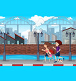 a family jogging in town vector image