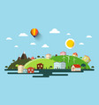 abstract flat design natural scene town vector image vector image