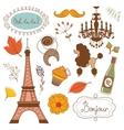 Autumn in Paris Elegant set with Eiffel tower vector image