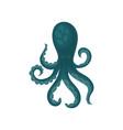 big blue octopus with shiny eyes marine animal vector image vector image