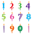 Birthday candles cartoon numbers set Candles vector image vector image