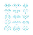 blue emoticons faces with different eyeglasses vector image vector image