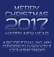 blue gradient letters numbers winter holiday font vector image
