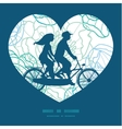 blue line art flowers couple on tandem vector image vector image