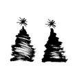 brush drawing a christmas tree vector image