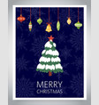christmas tree with snow and colorful baubles vector image